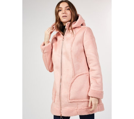 Isaac Mizrahi Live Faux Suede Hooded Shearling Jacket
