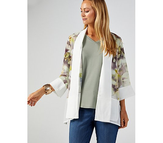 WynneLayers Mixed Media Printed Jacket with Trim Detail