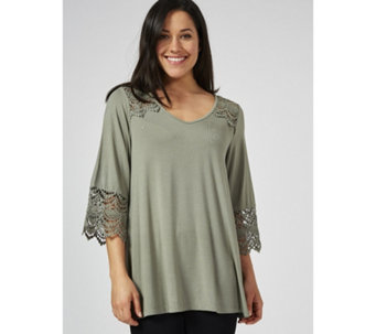 3db15ddc7a59 Tops   T-Shirts · Long Sleeve · Together Lace Fluted Sleeve Detail Top -  176252