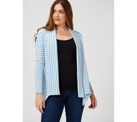 Modern Soul Long Sleeves & Handkerchief Hem Contrast Striped Knit Cardigan