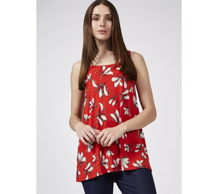 Kim & Co Floating Petals Brazil Jersey Sleeveless Hi-Low Tunic
