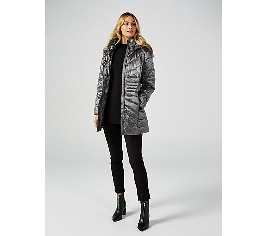 Centigrade Glossy Faux Down Quilted Puffer Coat
