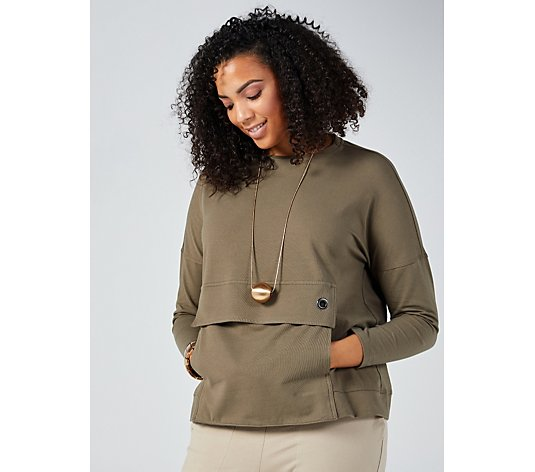 Outlet MarlaWynne Cotton Front Pocket Detail Box Top