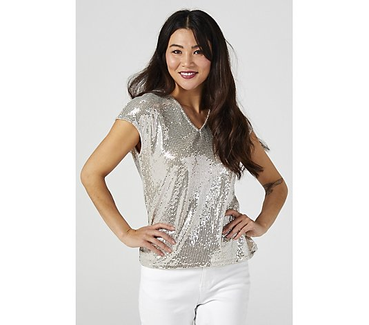 Coco Bianco V Neck Sequin Top