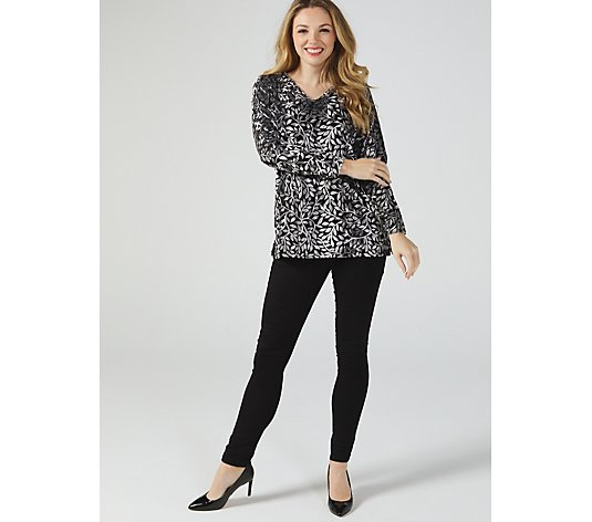 Delicate Leaf V Neck Long Sleeve Tunic by Michele Hope