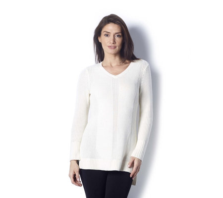 Isaac Mizrahi Live Engineered Stitch Knitted V Neck Jumper