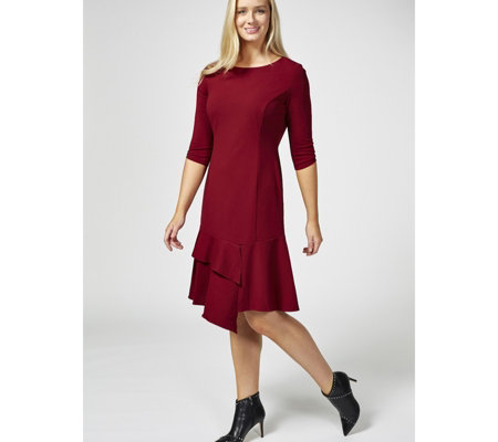 Ronni Nicole Long Sleeve Ruffle Hem Dress