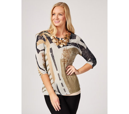 MarlaWynne Printed 3/4 Sleeve Box Sweater