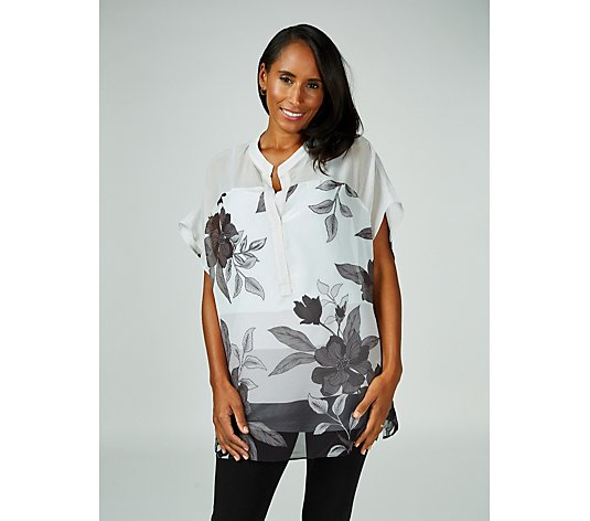 Live Unlimited London Chiffon Printed Top with Detachable Cami