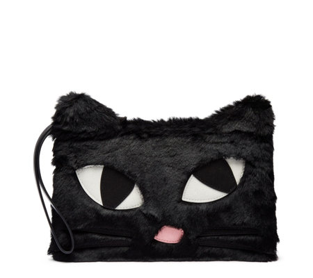 Lulu Guinness Kooky Cat Furry Grace Pouch