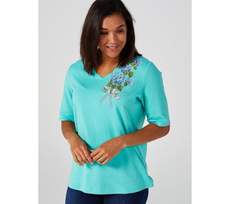 Quacker Factory Scalloped Neckline Top with Bouquet Motif