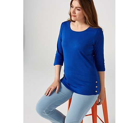 Denim & Co. Scoop Neck Top with Button Detail