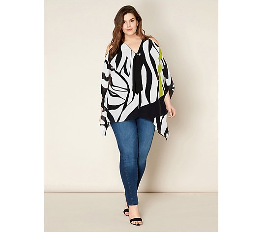 Live Unlimited London Printed Cold Shoulder Top