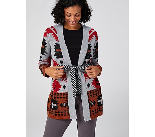 Absoluetly Famous Aztec Jacquard Cardigan with Belt