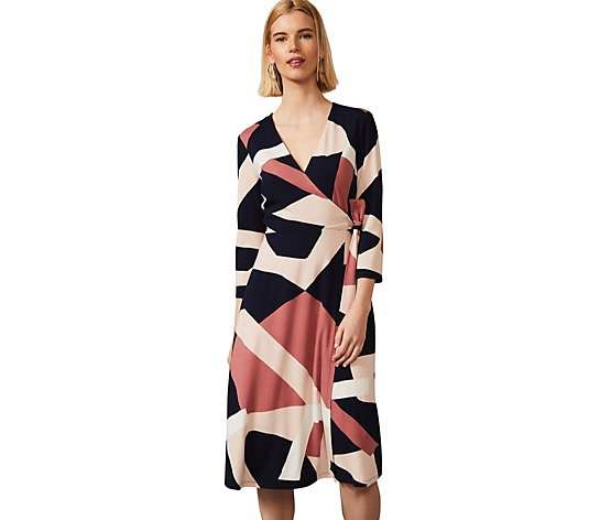 Phase Eight Abstract Print 3/4 Sleeve Wrap Dress