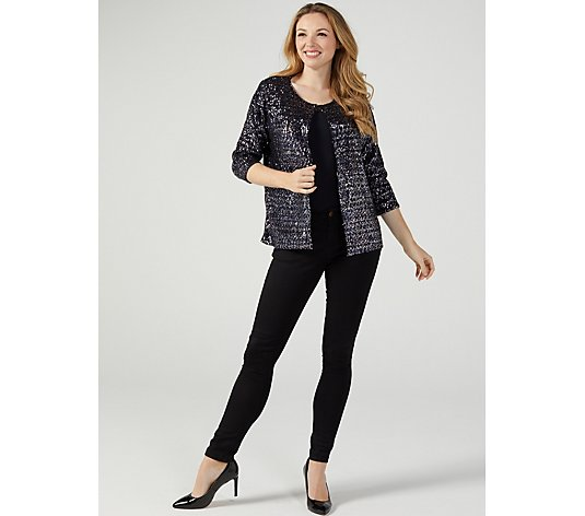 Sequin Dazzle 3/4 Sleeve Bolero by Michele Hope