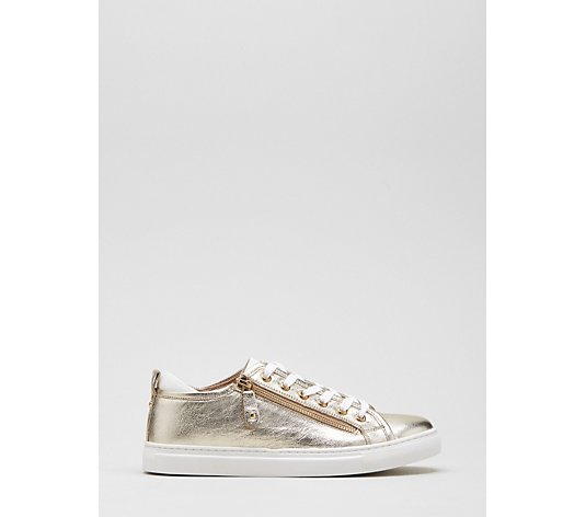 Dune Elicia Zip Detail Leather Lace Up Trainer