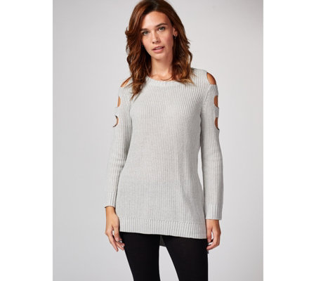 Back Dip Hem Knitted Top with Open Sleeves by Michele Hope