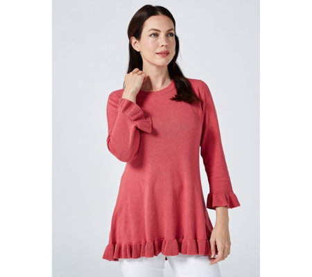 Isaac Mizrahi Live 3/4 Sleeve Peplum Pullover with Ruffle Detail