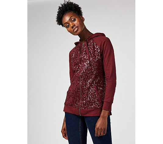 Isaac Mizrahi Live Sequin Tunic Hoodie with Front Pockets