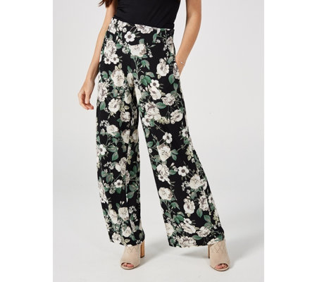 Elasticated Waist Printed Palazzo Trousers Petite by Nina Leonard