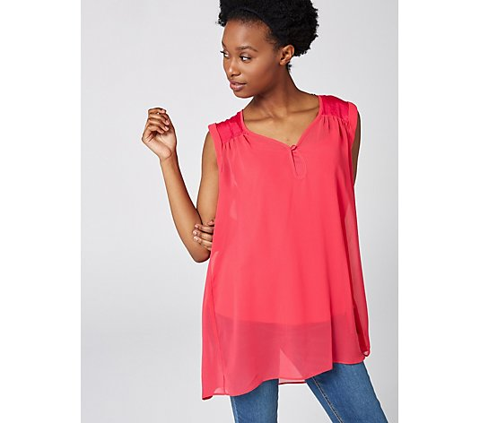 Live Unlimited London Chiffon Top with Satin Detail