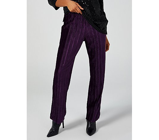 Pleated Velvet Trousers by Michele Hope