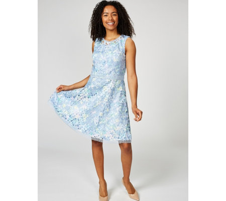 Isaac Mizrahi Live Special Edition Printed Lace Sleeveless Dress