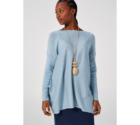 MarlaWynne Hi Lo Ribbed Sleeve Sweater