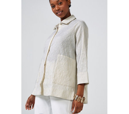 MarlaWynne Textured Stripe Shirt with Pockets