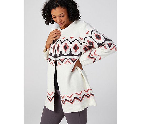 Absolutely Famous Crew Neck Jacquard Open Cardigan
