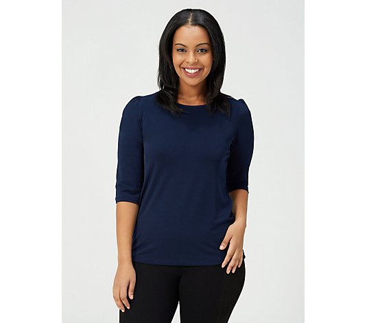 Kim & Co Brazil Jersey 3/4 Sleeve Top with Shirring