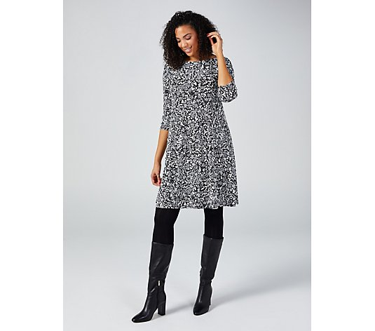 Coco Bianco 3/4 Sleeve Puff Print Dress
