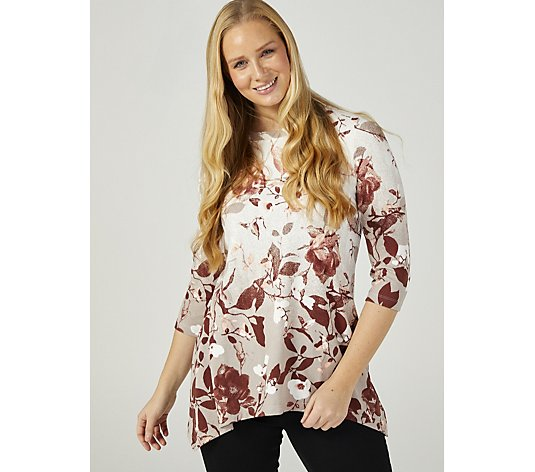 Denim & Co. 3/4 Sleeve Printed Trapeze Hem Tunic
