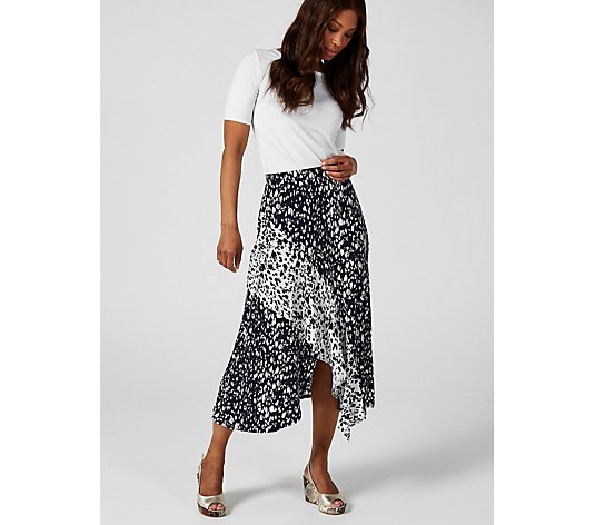 Elastic Waist Asymmetric Hem Mixed Print Midi Length Skirt by Nina Leonard