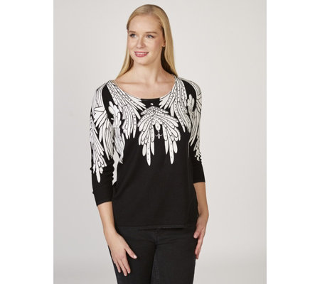 Attitudes by Renee 3/4 Sleeve Wings Print Jumper