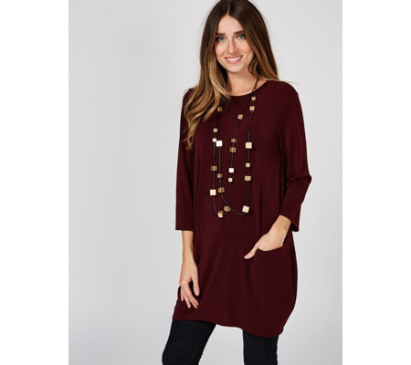 MarlaWynne Luxe Crepe Front Tunic with Front Pockets