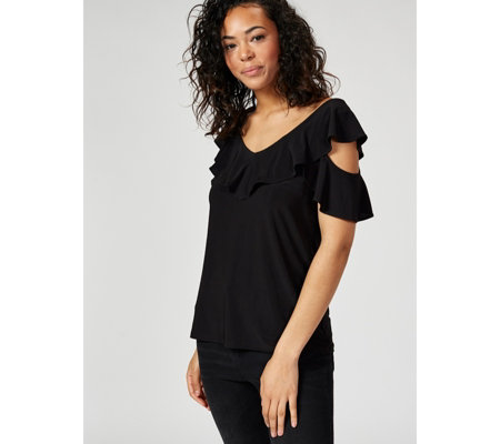 Coco Bianco Short Sleeve Cold Shoulder Top with Ruffle Detail
