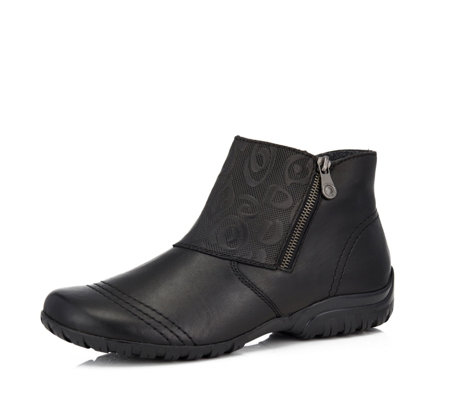 Rieker Embossed Panel Side Zip Boot