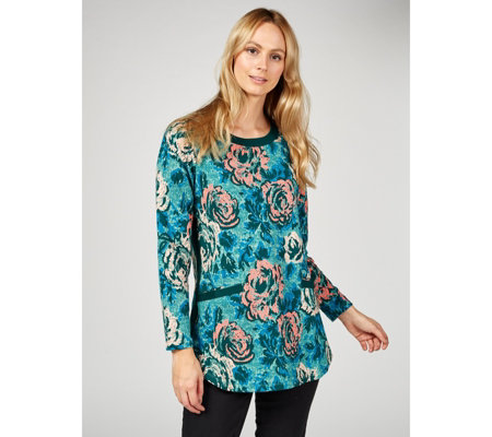 Denim & Co. Printed French Terry Long Sleeve Top
