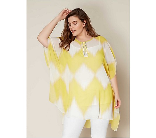 Live Unlimited London Zig Zag Kaftan with Beaded Trim