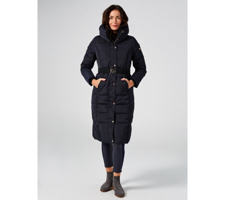Centigrade Down Quilted Long Puffer Coat with Contrast Elastic Belt