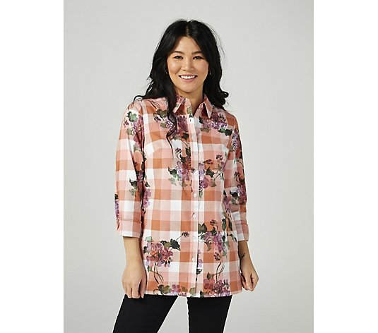 Denim & Co. Printed Button Front Tunic Shirt
