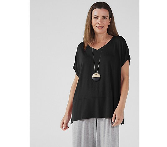 WynneLayers Extended Cap Sleeve Panel T Shirt