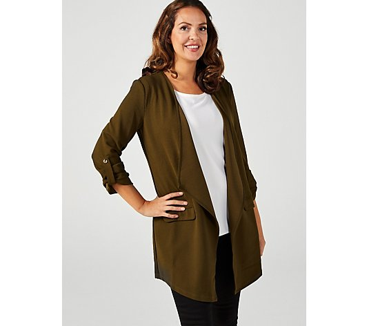 High Tec Crepe Tab Sleeve Jacket with Flap Front Pockets by Nina Leonard