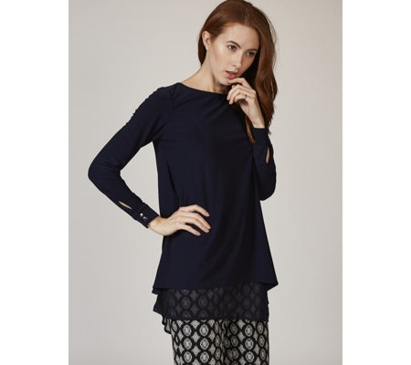 Long Sleeve Boat Neck Tunic with Chiffon Underlay by Nina Leonard
