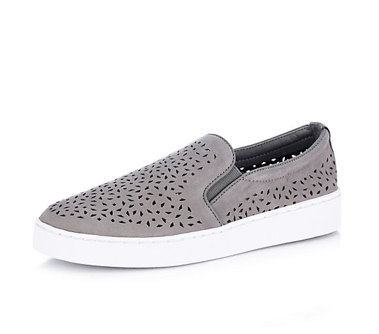 Outlet Vionic Orthotic Midi Perforated Suede Slip On Shoe w/ FMT Technology