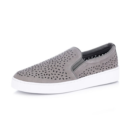 Vionic Orthotic Splendid Midi Perforated Suede Slip On Shoe w/ FMT Technology