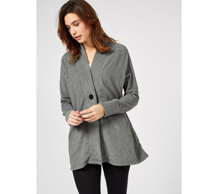 Cuddl Duds Fleecewear V Neck Button Front Cardigan
