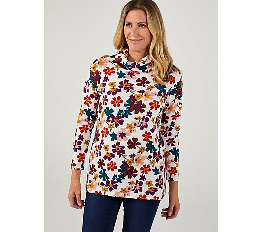 Kim & Co Printed Soft Touch Long Sleeve Cowl Neck Tunic